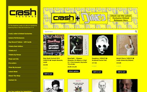 Screenshot of Home Page crashrecords.co.uk - | 35 The Headrow Leeds LS1 6PU 01132436743 Opening Hours: Mon-Sat 9:30-6 Sun 11-4 - captured Oct. 26, 2018