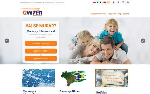 Screenshot of Home Page ginter.com.br - GInter   A maior empresa de Mudança Internacional do país - captured Sept. 25, 2018