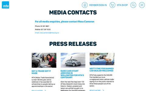 Screenshot of Press Page mta.org.nz - Media - MTA - captured Nov. 16, 2017