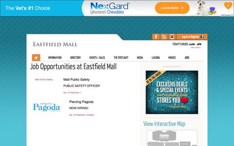 Screenshot of Jobs Page eastfieldmall.com - Eastfield Mall :: 1655 Boston Road, Springfield, MA. 01129 :: (413) 543-8000 - captured May 14, 2017