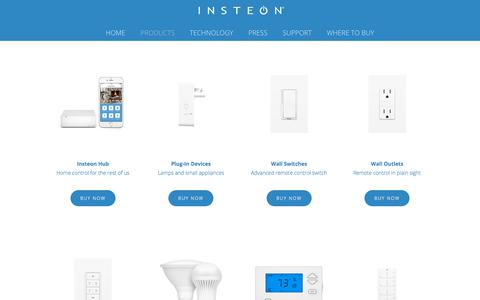 Screenshot of Products Page insteon.com - Products — Insteon - captured July 27, 2018