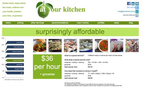 Screenshot of Pricing Page atyourkitchen.com.au - convenient and affordable - captured Sept. 30, 2014