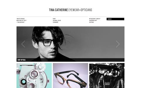 Screenshot of Home Page tinacatherine.com - TCEO | Tina Catherine Eyewear & Opticians | Chelsea NYC - captured Sept. 19, 2014