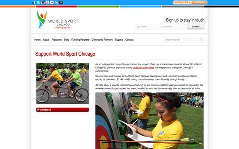 Screenshot of Support Page worldsportchicago.org - Support Us – Donate & Volunteer – World Sport Chicago - captured Sept. 30, 2014