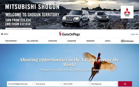 Screenshot of Home Page gunsonpegs.com - GunsOnPegs | The No.1 Game Shooting Finder - Pheasant Shooting, Partridge Shooting, Grouse Shooting & Stalking - captured Nov. 16, 2016
