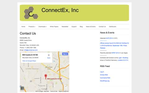Screenshot of Contact Page connect-ex.com - Contact Us » ConnectEx, Inc. BACnet Connectivity Solutions ConnectEx, Inc. BACnet Connectivity Solutions - captured Oct. 3, 2014