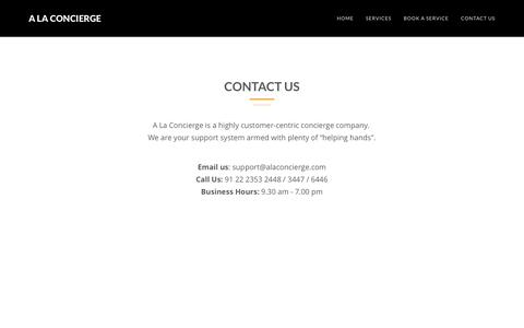 Screenshot of Contact Page alaconcierge.com - Welcome to A La Concierge - captured May 15, 2017
