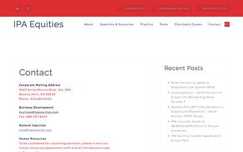 Screenshot of Contact Page ipaequities.com - Contact – IPA Equities - captured July 27, 2018