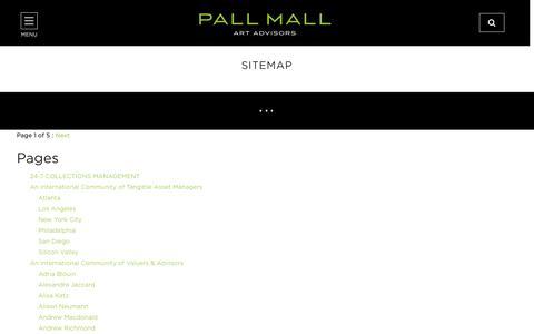 Screenshot of Site Map Page pallmallartadvisors.com - Pall Mall Art Advisors | Tangible Asset Managers - captured Dec. 30, 2016
