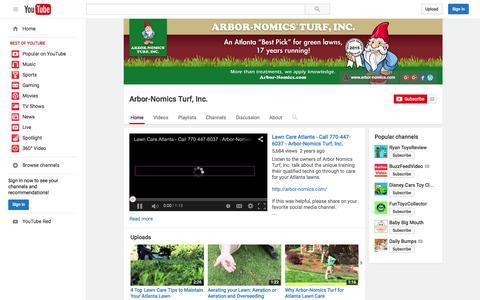 Screenshot of YouTube Page youtube.com - Arbor-Nomics Turf, Inc.  - YouTube - captured Nov. 13, 2015