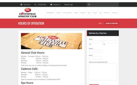 Screenshot of Hours Page fayac.com - Fitness Center Hours of Operation | Fayetteville Athletic Club - captured Oct. 5, 2014