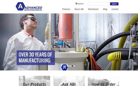 Screenshot of Home Page abionline.com - Advanced Biotechnologies Inc - International Biotechnology Company - Maryland - captured Jan. 24, 2016