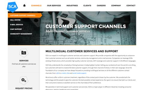 Screenshot of Support Page 5ca.com - The 5 channels to outsource customer support and services - captured Oct. 29, 2014