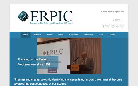 Screenshot of Home Page Menu Page erpic.org - European Rim Policy and Investment Council (ERPIC) | ERPIC is a Cyprus based independent, non-partisan, non-profit making, member supported organization founded in 1999. Its activities centres on legal, security, political, and energy developments in - captured Oct. 1, 2014
