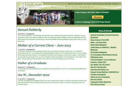 Screenshot of Testimonials Page freshstartministries.com - Fresh Start Ministries   » Testimonials - captured Oct. 6, 2014