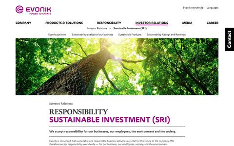 Sustainable Investment (SRI) - Evonik Industries AG