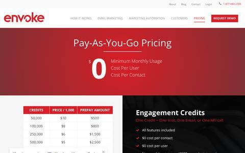 Screenshot of Pricing Page envoke.com - Marketing Automation Platform Pricing   Envoke Marketing Software - captured Dec. 10, 2017