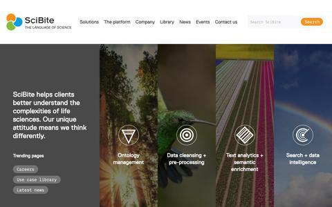 Screenshot of Home Page scibite.com - Semantic Analytics & Clean Data Intelligence Experts | SciBite - captured June 14, 2019