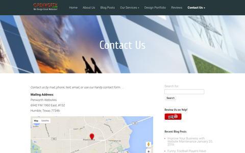 Screenshot of Contact Page penworth.com - Contact Us | Penworth Websites - captured Jan. 27, 2016