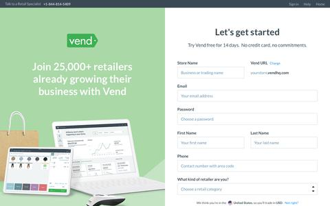 Screenshot of Signup Page Trial Page vendhq.com - Start your free 14 day trial | Vend - captured Nov. 27, 2019