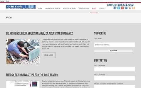 Screenshot of Blog coldcraft.com - Blog | HVAC | Cold-Craft - captured Jan. 29, 2016
