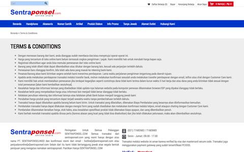 Screenshot of Terms Page sentraponsel.com - Terms & Conditions - captured Sept. 19, 2014