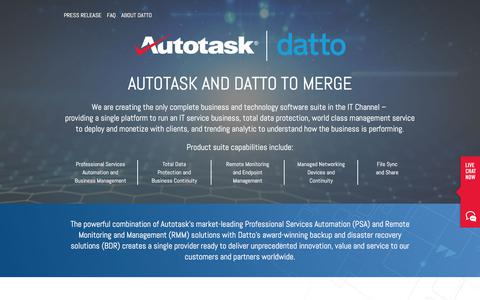 Screenshot of FAQ Page autotask.com - Autotask and Datto to Merge - captured Oct. 30, 2017