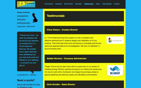 Screenshot of Testimonials Page cjtimms.co.uk - Testimonials From Our Loyal Customers » C J Timms - captured Oct. 1, 2014