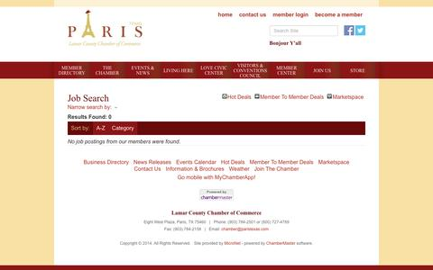 Screenshot of Jobs Page paristexas.com - Job Search - PublicLayout - Lamar County Chamber of Commerce, TX - captured June 18, 2016