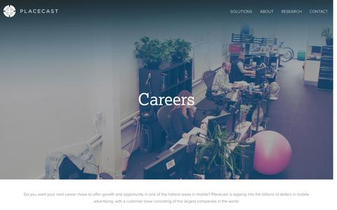 Screenshot of Jobs Page placecast.net - Placecast :: Careers - captured Sept. 17, 2014