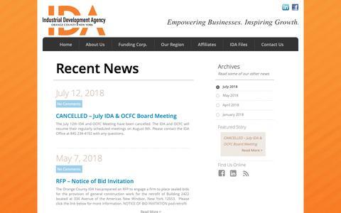 Screenshot of Press Page ocnyida.com - News | Industrial Development Agency | Orange County New York - captured Oct. 19, 2018