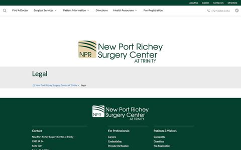 Screenshot of Privacy Page Terms Page nprsurgerycenter.com - Legal | New Port Richey Surgery Center at Trinity | Trinity, FL - captured Nov. 1, 2017