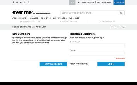 Screenshot of Login Page everme.co.nz - Customer Login from EverMe - captured Jan. 2, 2017
