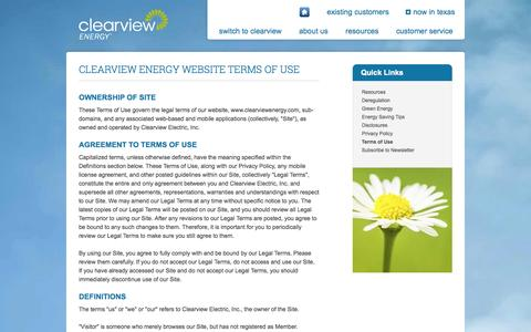 Screenshot of Terms Page clearviewenergy.com - Website Terms of Use | Clearview Energy - captured Oct. 2, 2014