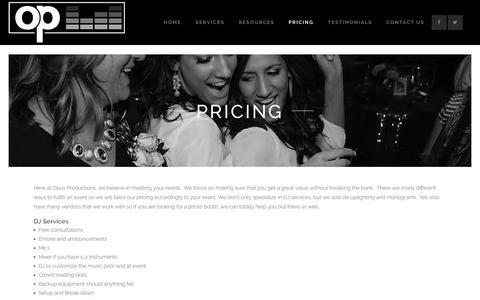 Screenshot of Pricing Page djopus.com - Pricing - Opus Productions - captured Nov. 30, 2016