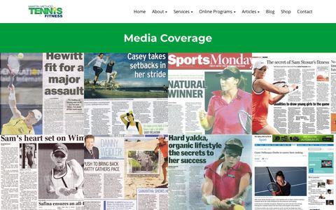 Screenshot of Press Page tennisfitness.com - media coverage - captured Sept. 20, 2018