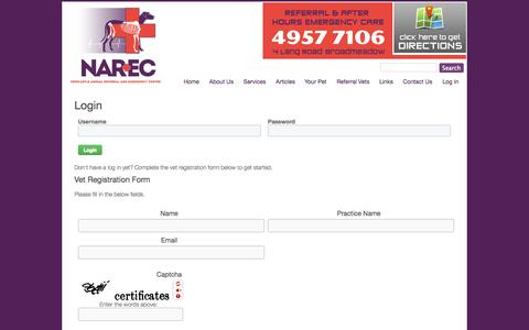 Screenshot of Login Page narec.com.au - Login / User - Newcastle Animal Emergency Center - captured Oct. 26, 2014