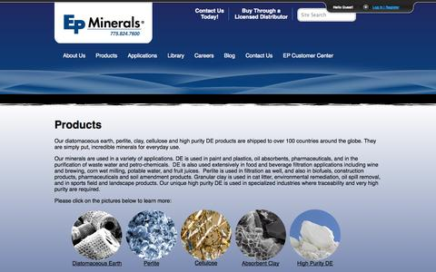 Screenshot of Products Page epminerals.com - Products | EP Minerals - captured Sept. 26, 2014