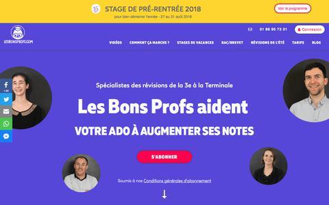 Screenshot of Home Page lesbonsprofs.com - LesBonsProfs : La solution pour les révisions de votre ado - captured July 18, 2018