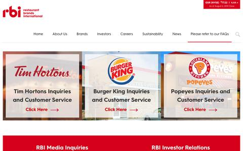 Screenshot of Contact Page rbi.com - Contact | Restaurant Brands International ™ - captured Aug. 3, 2019
