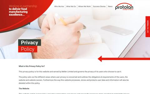 Screenshot of Privacy Page protolan.com - Privacy Policy - Protolan - captured Dec. 16, 2018