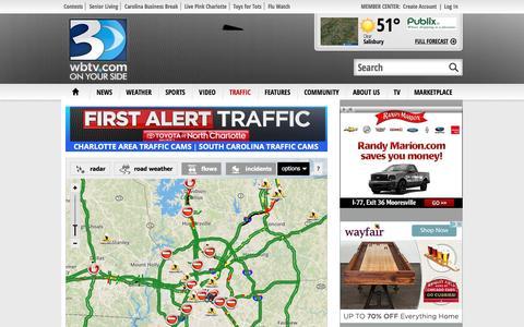 Screenshot of Maps & Directions Page wbtv.com - TRAFFIC - | WBTV Charlotte - captured Nov. 27, 2016