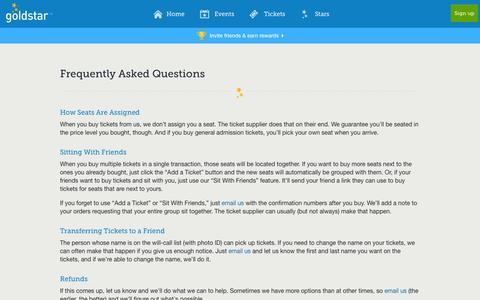 Screenshot of FAQ Page goldstar.com - FAQ | Help | Goldstar - captured Sept. 18, 2014