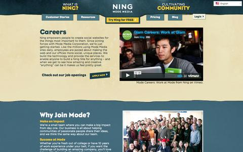 Screenshot of Jobs Page ning.com - Careers | Ning.com - captured June 16, 2015