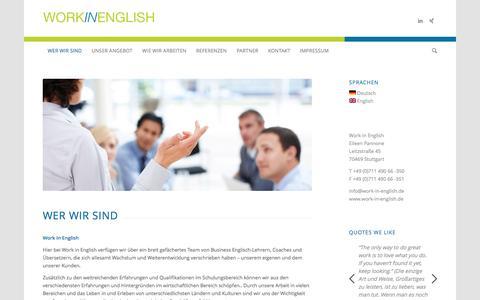Screenshot of Home Page work-in-english.de - Work in English | We improve your work in English - captured Dec. 12, 2016