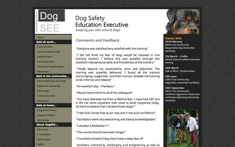 Screenshot of Testimonials Page dogsee.org - Dog Safety Education Executive - captured Oct. 5, 2014