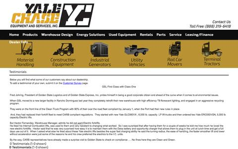 Screenshot of Testimonials Page yalechase.com - Forklifts Southern California & Los Angeles | Diesel Power Generators Long Beach & Riverside CA | Energy Solutions & Backhoe Loaders Irvine CA - captured Nov. 17, 2016