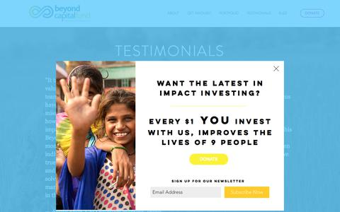 Screenshot of Testimonials Page beyondcapitalfund.org - What others are saying about us - captured Aug. 2, 2018