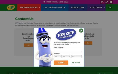 Screenshot of Contact Page crayola.com - contactUs | crayola.com - captured July 26, 2018