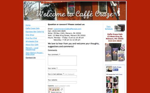 Screenshot of Contact Page caffecraze.com - Contact Us - Caffe Craze featuring Chaikhana Chai, local coffee, espresso drinks and bakery items. (Malvern, PA) Train Station - captured Oct. 1, 2014